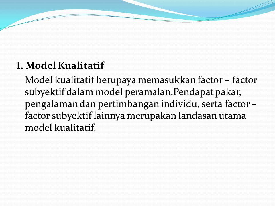 I. Model Kualitatif Model kualitatif berupaya memasukkan factor – factor subyektif dalam model peramalan.Pendapat pakar, pengalaman dan pertimbangan i