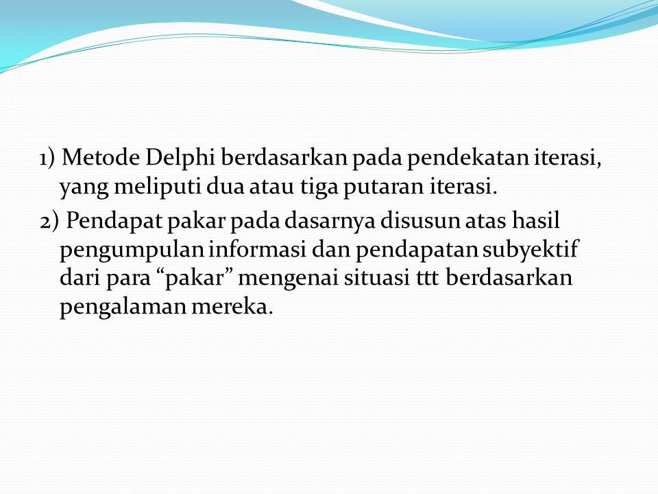 1) Metode Delphi berdasarkan pada pendekatan iterasi, yang meliputi dua atau tiga putaran iterasi. 2) Pendapat pakar pada dasarnya disusun atas hasil