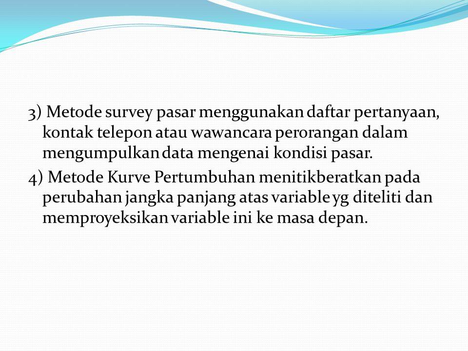 3) Metode survey pasar menggunakan daftar pertanyaan, kontak telepon atau wawancara perorangan dalam mengumpulkan data mengenai kondisi pasar. 4) Meto