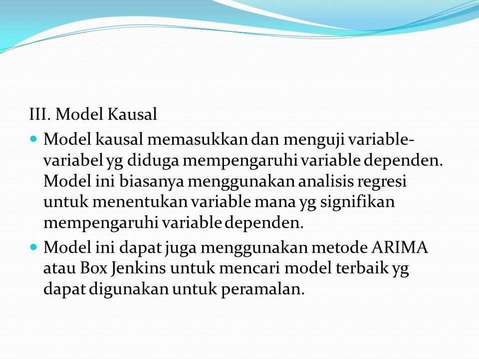 III. Model Kausal Model kausal memasukkan dan menguji variable- variabel yg diduga mempengaruhi variable dependen. Model ini biasanya menggunakan anal