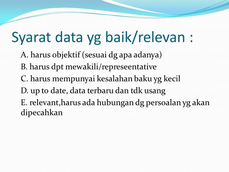 Syarat data yg baik/relevan : A. harus objektif (sesuai dg apa adanya) B. harus dpt mewakili/represeentative C. harus mempunyai kesalahan baku yg keci
