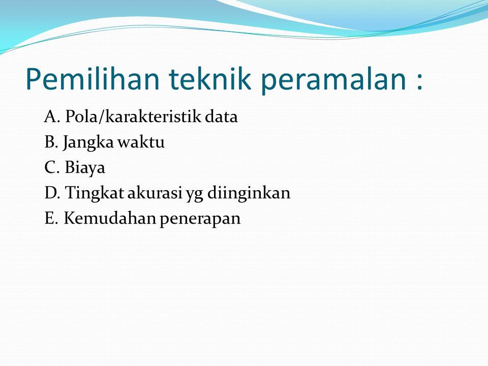 Pemilihan teknik peramalan : A.Pola/karakteristik data B.