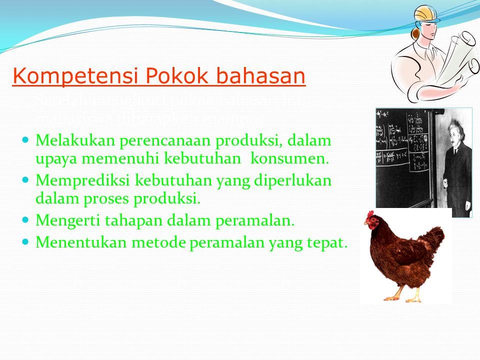 Introduction Pokok bahasan ini merupakan pokok bahasan yang mengkaji perencanaan produksi melalui penerapan metode peramalan.