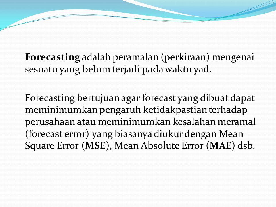 Forecasting adalah peramalan (perkiraan) mengenai sesuatu yang belum terjadi pada waktu yad. Forecasting bertujuan agar forecast yang dibuat dapat mem
