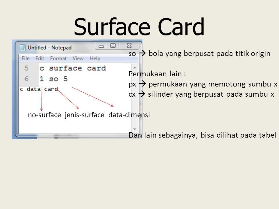 Surface Card no-surface jenis-surface data-dimensi so  bola yang berpusat pada titik origin Permukaan lain : px  permukaan yang memotong sumbu x cx  silinder yang berpusat pada sumbu x Dan lain sebagainya, bisa dilihat pada tabel