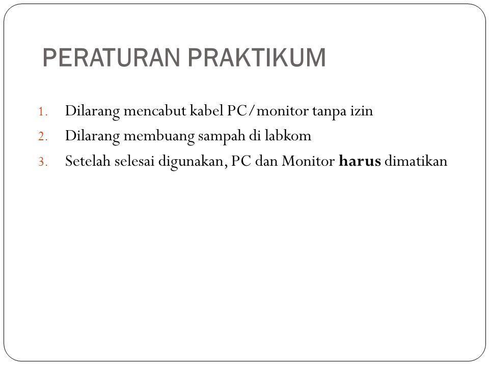 PERATURAN PRAKTIKUM 1. Dilarang mencabut kabel PC/monitor tanpa izin 2. Dilarang membuang sampah di labkom 3. Setelah selesai digunakan, PC dan Monito
