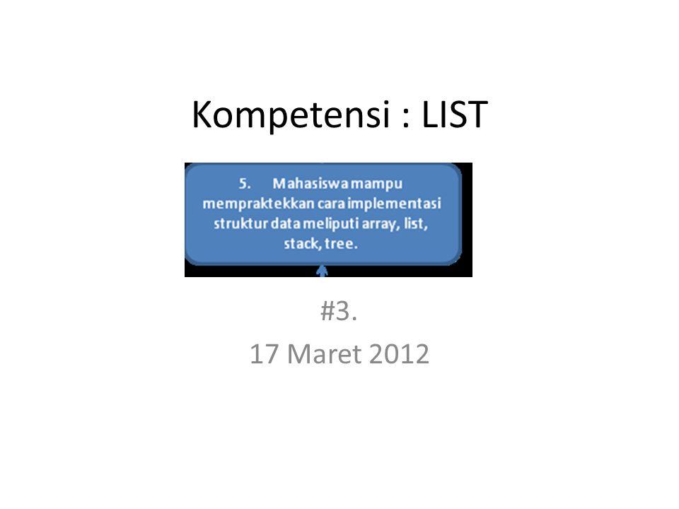 Kompetensi : LIST #3. 17 Maret 2012