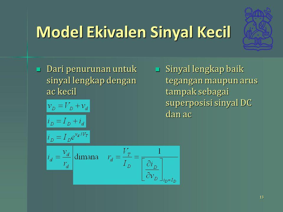 Model Ekivalen Sinyal Kecil Dari penurunan untuk sinyal lengkap dengan ac kecil Dari penurunan untuk sinyal lengkap dengan ac kecil Sinyal lengkap bai