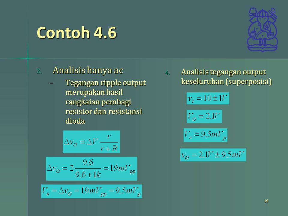 Contoh 4.6 3. Analisis hanya ac –Tegangan ripple output merupakan hasil rangkaian pembagi resistor dan resistansi dioda 19 4. Analisis tegangan output