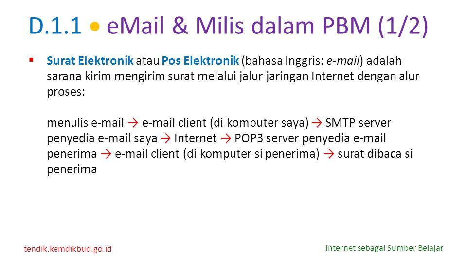 tendik.kemdikbud.go.id Internet sebagai Sumber Belajar D.1.1  eMail & Milis dalam PBM (1/2)  Surat Elektronik atau Pos Elektronik (bahasa Inggris: e