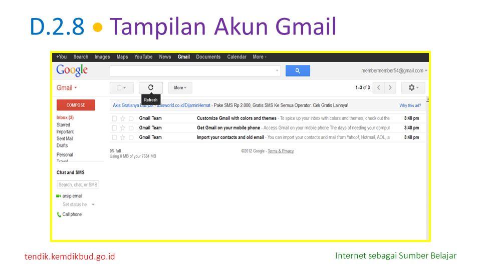 tendik.kemdikbud.go.id Internet sebagai Sumber Belajar D.2.8  Tampilan Akun Gmail