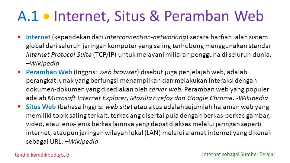 tendik.kemdikbud.go.id Internet sebagai Sumber Belajar A.1  Internet, Situs & Peramban Web  Internet (kependekan dari interconnection-networking) se