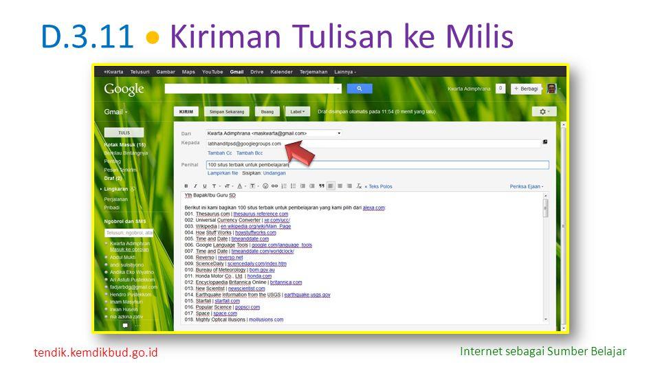tendik.kemdikbud.go.id Internet sebagai Sumber Belajar D.3.11  Kiriman Tulisan ke Milis