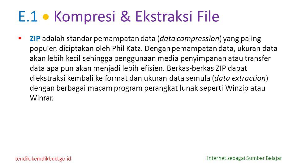 tendik.kemdikbud.go.id Internet sebagai Sumber Belajar E.1  Kompresi & Ekstraksi File  ZIP adalah standar pemampatan data (data compression) yang pa