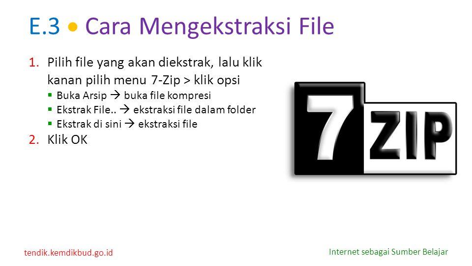 tendik.kemdikbud.go.id Internet sebagai Sumber Belajar E.3  Cara Mengekstraksi File 1.Pilih file yang akan diekstrak, lalu klik kanan pilih menu 7-Zi