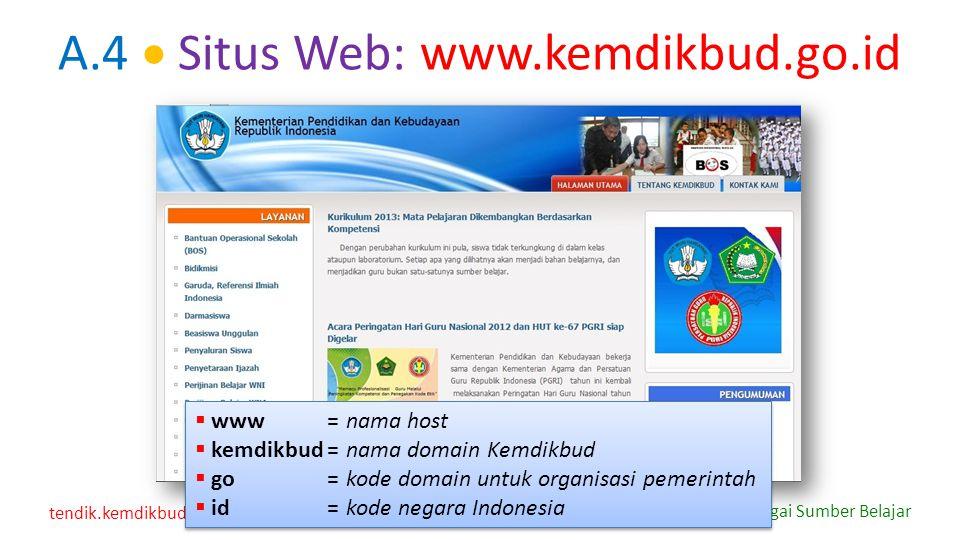 tendik.kemdikbud.go.id Internet sebagai Sumber Belajar A.4  Situs Web: www.kemdikbud.go.id  www=nama host  kemdikbud=nama domain Kemdikbud  go=kod
