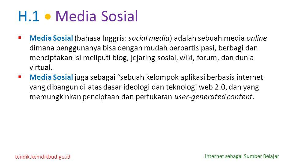 tendik.kemdikbud.go.id Internet sebagai Sumber Belajar H.1  Media Sosial  Media Sosial (bahasa Inggris: social media) adalah sebuah media online dim