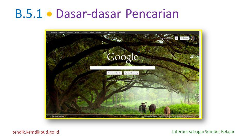 tendik.kemdikbud.go.id Internet sebagai Sumber Belajar B.5.1  Dasar-dasar Pencarian