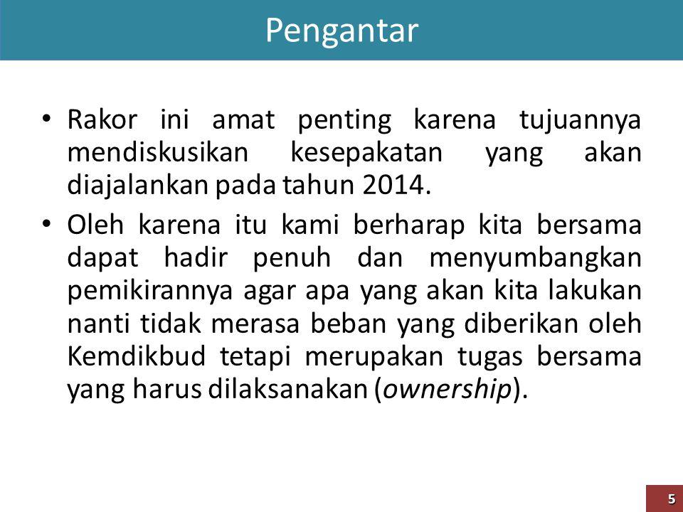 Pengantar Rakor ini amat penting karena tujuannya mendiskusikan kesepakatan yang akan diajalankan pada tahun 2014.