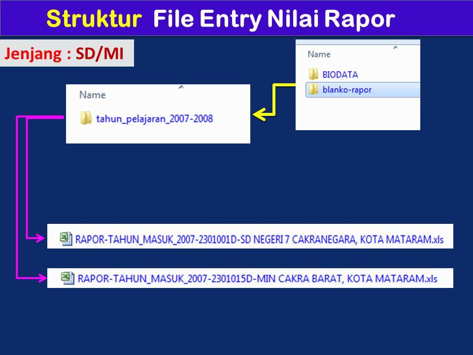 Struktur File Entry Nilai Rapor Jenjang : SD/MI