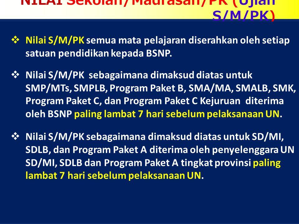 NILAI Sekolah/Madrasah/PK (Ujian S/M/PK)  Nilai S/M/PK semua mata pelajaran diserahkan oleh setiap satuan pendidikan kepada BSNP.