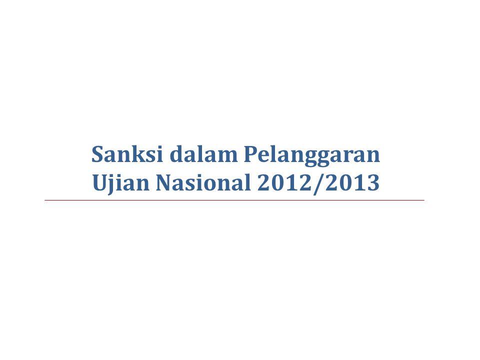 Sanksi dalam Pelanggaran Ujian Nasional 2012/2013