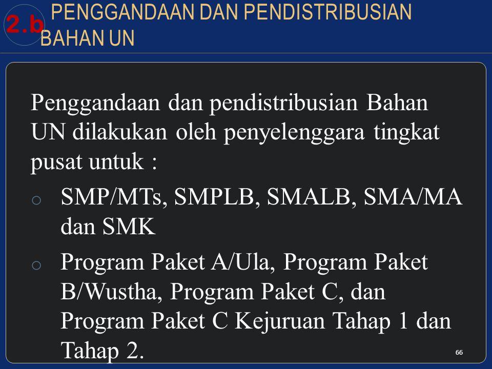 PENGGANDAAN DAN PENDISTRIBUSIAN BAHAN UN Penggandaan dan pendistribusian Bahan UN dilakukan oleh penyelenggara tingkat pusat untuk : o SMP/MTs, SMPLB, SMALB, SMA/MA dan SMK o Program Paket A/Ula, Program Paket B/Wustha, Program Paket C, dan Program Paket C Kejuruan Tahap 1 dan Tahap 2.