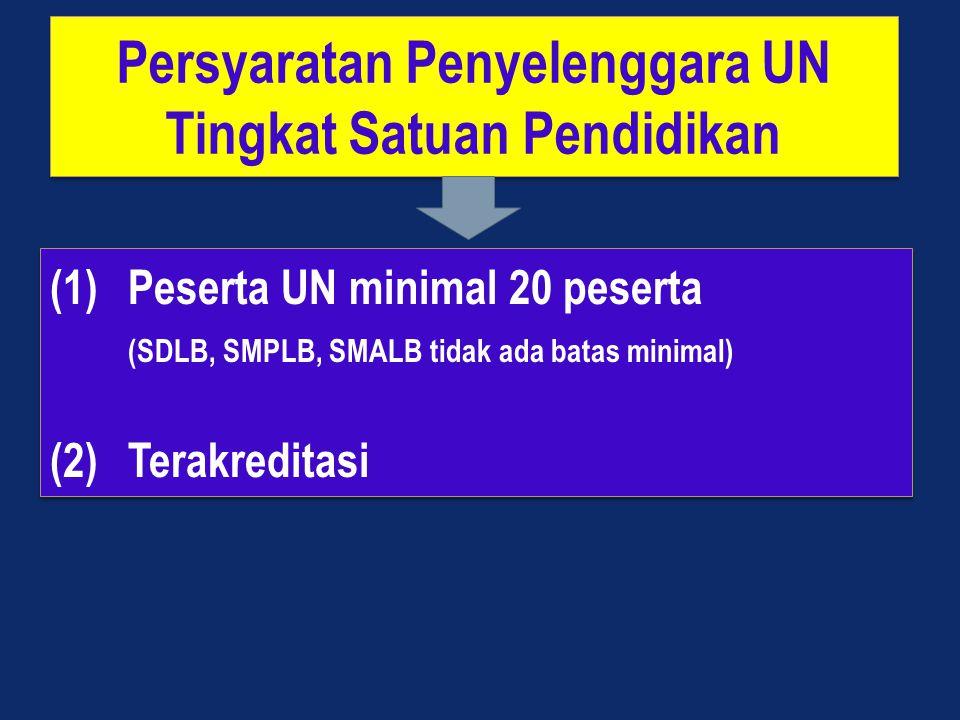 Persyaratan Penyelenggara UN Tingkat Satuan Pendidikan Persyaratan Penyelenggara UN Tingkat Satuan Pendidikan (1)Peserta UN minimal 20 peserta (SDLB, SMPLB, SMALB tidak ada batas minimal) (2)Terakreditasi (1)Peserta UN minimal 20 peserta (SDLB, SMPLB, SMALB tidak ada batas minimal) (2)Terakreditasi