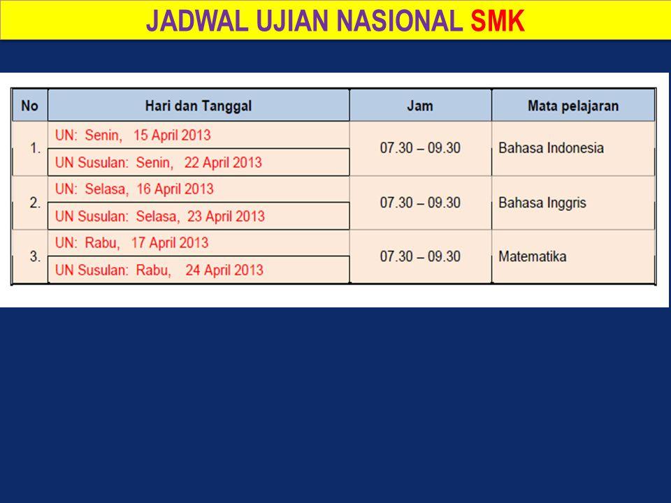 JADWAL UJIAN NASIONAL SMK