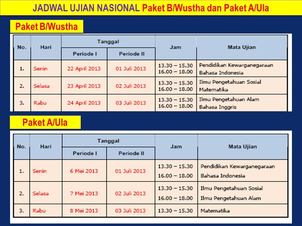 JADWAL UJIAN NASIONAL Paket B/Wustha dan Paket A/Ula Paket A/Ula Paket B/Wustha