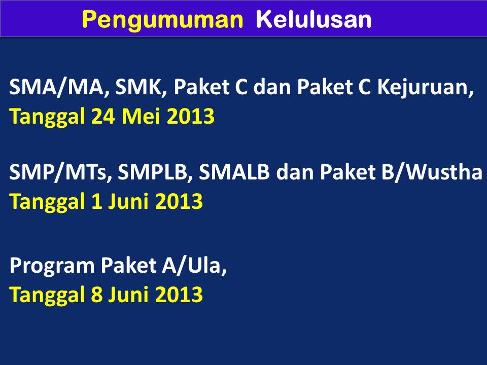 Pengumuman Kelulusan SMA/MA, SMK, Paket C dan Paket C Kejuruan, Tanggal 24 Mei 2013 SMP/MTs, SMPLB, SMALB dan Paket B/Wustha Tanggal 1 Juni 2013 Program Paket A/Ula, Tanggal 8 Juni 2013