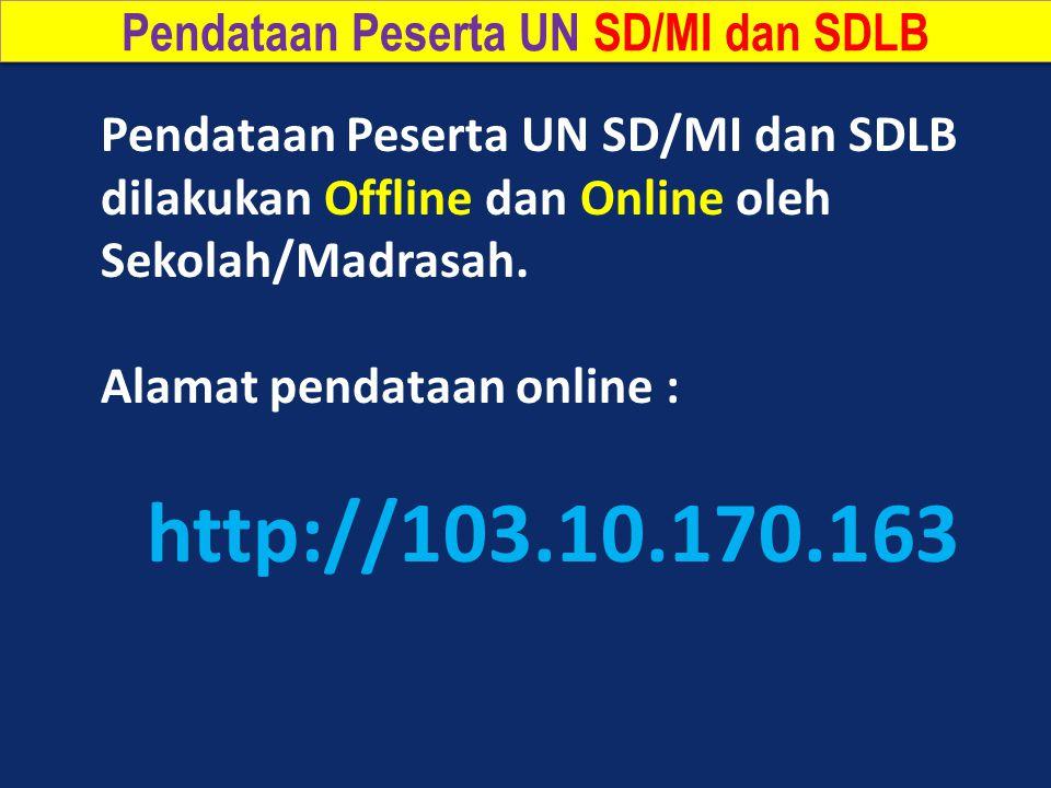 Pendataan Peserta UN SD/MI dan SDLB dilakukan Offline dan Online oleh Sekolah/Madrasah.
