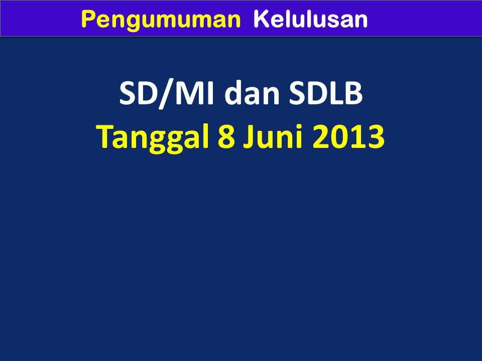 Pengumuman Kelulusan SD/MI dan SDLB Tanggal 8 Juni 2013