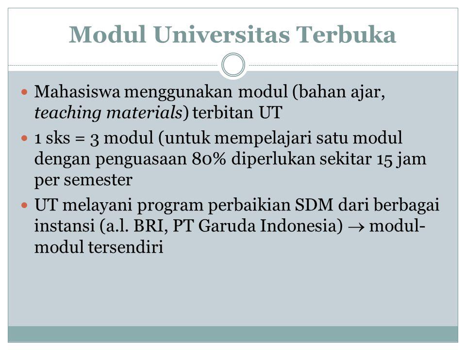 Modul Universitas Terbuka Mahasiswa menggunakan modul (bahan ajar, teaching materials) terbitan UT 1 sks = 3 modul (untuk mempelajari satu modul dengan penguasaan 80% diperlukan sekitar 15 jam per semester UT melayani program perbaikian SDM dari berbagai instansi (a.l.