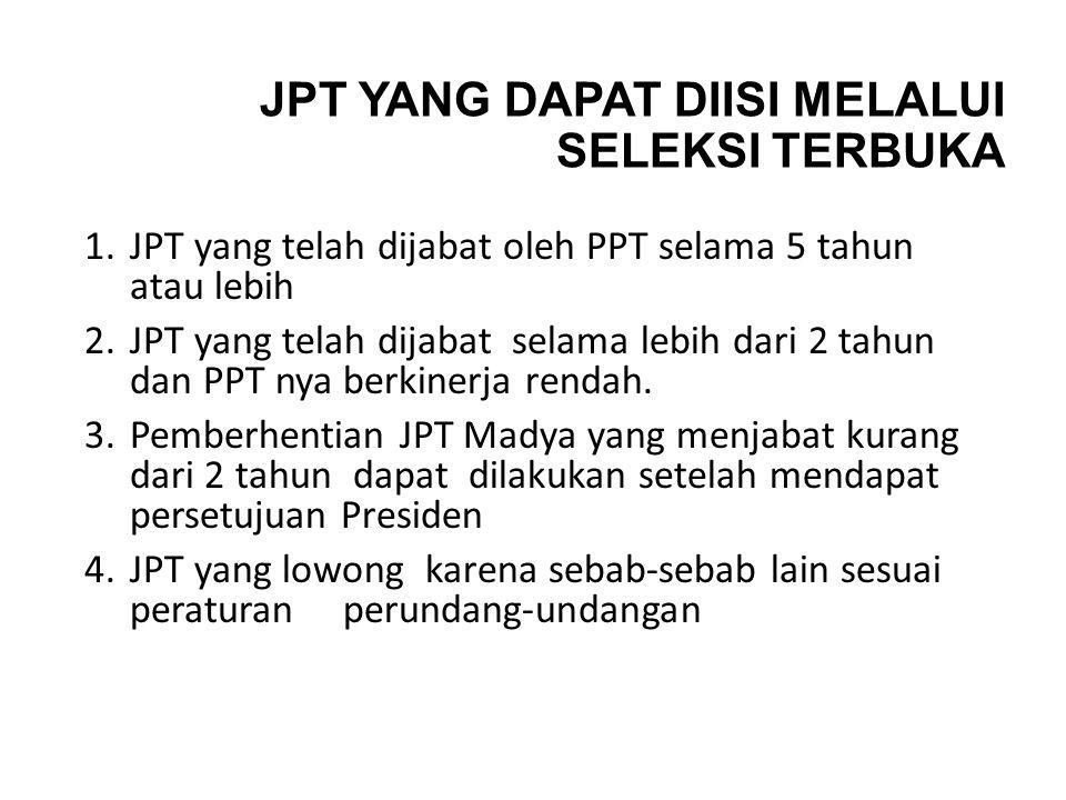 JPT YANG DAPAT DIISI MELALUI SELEKSI TERBUKA 1.JPT yang telah dijabat oleh PPT selama 5 tahun atau lebih 2.JPT yang telah dijabat selama lebih dari 2