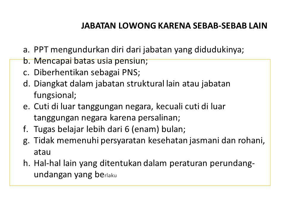 a.PPT mengundurkan diri dari jabatan yang didudukinya; b.Mencapai batas usia pensiun; c.Diberhentikan sebagai PNS; d.Diangkat dalam jabatan struktural