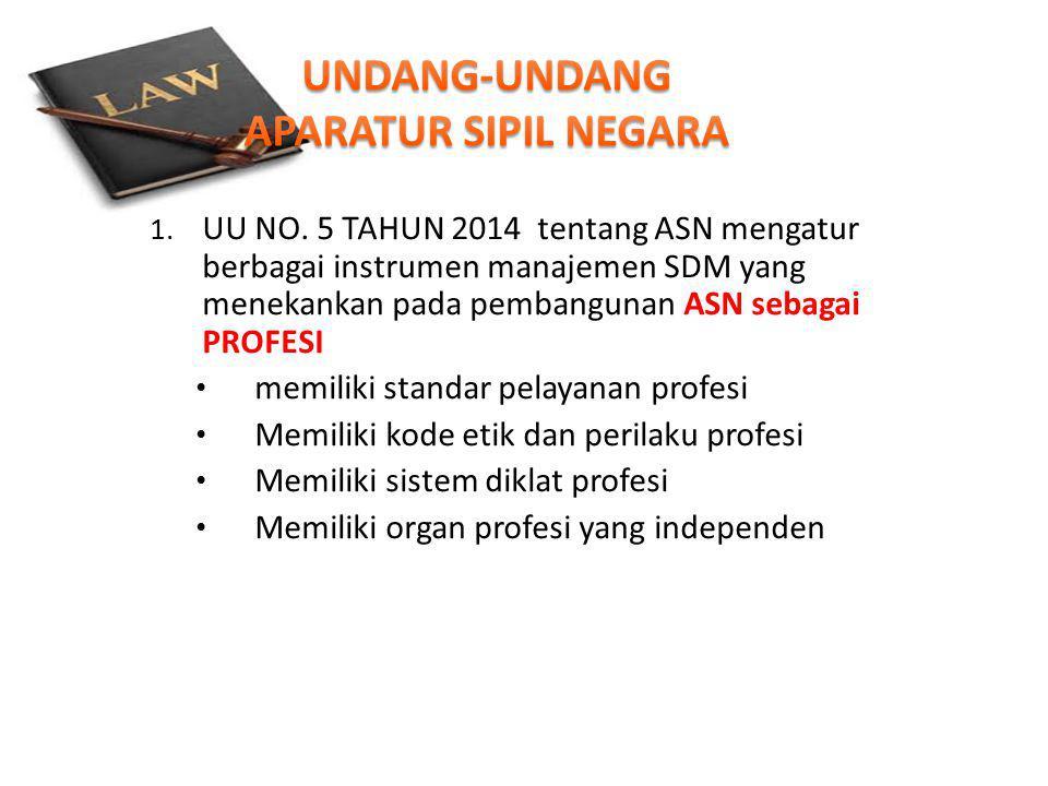 1. UU NO. 5 TAHUN 2014 tentang ASN mengatur berbagai instrumen manajemen SDM yang menekankan pada pembangunan ASN sebagai PROFESI memiliki standar pel