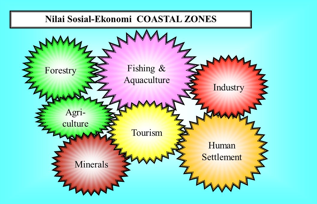 Nilai Sosial-Ekonomi COASTAL ZONES Forestry Fishing & Aquaculture Agri- culture Minerals Tourism Human Settlement Industry
