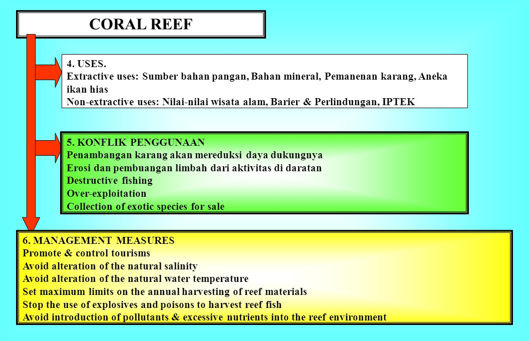 Coral reef 1. BATASAN. Ekosistem yang sangat kompleks dan produktif, di perairan pantai tropis yg dangkal, pulau-pulau kecil, dimana airnya kaya oksig