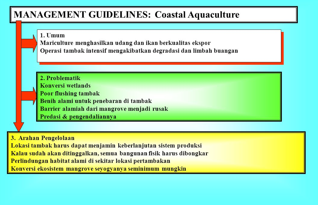 MANAGEMENT GUIDELINES: Ports & Harbors 1. Umum Port & shipping: Communication & cargo transportation Fishing port, TPI, dll. Pelabuhan ekspor-impor 2.