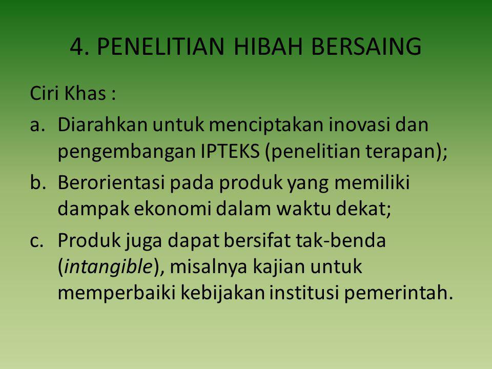 4. PENELITIAN HIBAH BERSAING Ciri Khas : a.Diarahkan untuk menciptakan inovasi dan pengembangan IPTEKS (penelitian terapan); b.Berorientasi pada produ