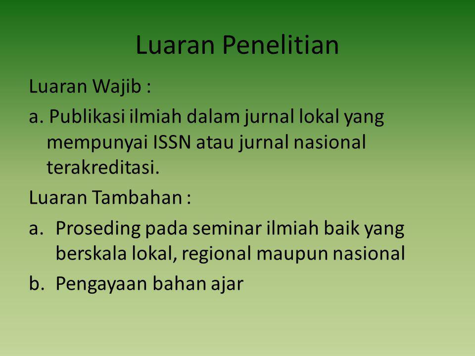Luaran Penelitian Luaran Wajib : a.