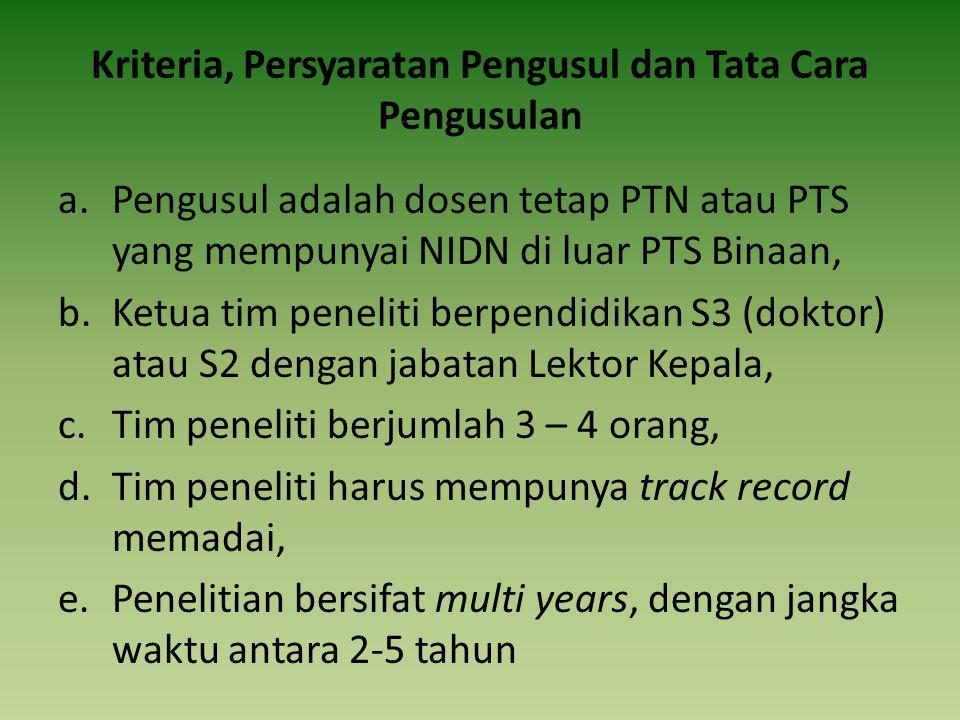 Kriteria, Persyaratan Pengusul dan Tata Cara Pengusulan a.Pengusul adalah dosen tetap PTN atau PTS yang mempunyai NIDN di luar PTS Binaan, b.Ketua tim