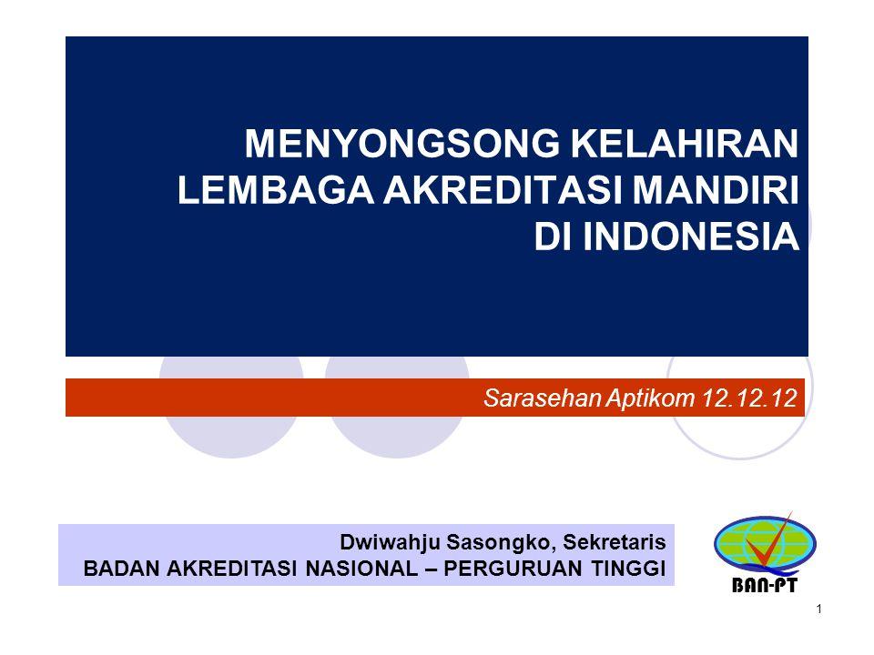 1 MENYONGSONG KELAHIRAN LEMBAGA AKREDITASI MANDIRI DI INDONESIA Dwiwahju Sasongko, Sekretaris BADAN AKREDITASI NASIONAL – PERGURUAN TINGGI BAN-PT Sara