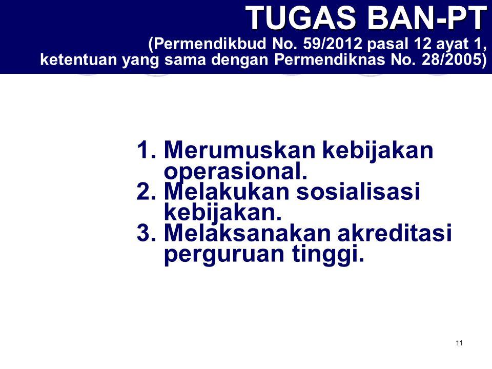 11 TUGAS BAN-PT TUGAS BAN-PT ( Permendikbud No. 59/2012 pasal 12 ayat 1, ketentuan yang sama dengan Permendiknas No. 28/2005) 1.Merumuskan kebijakan o