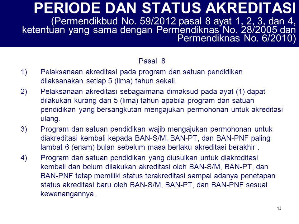 13 PERIODE DAN STATUS AKREDITASI (Permendikbud No. 59/2012 pasal 8 ayat 1, 2, 3, dan 4, ketentuan yang sama dengan Permendiknas No. 28/2005 dan Permen