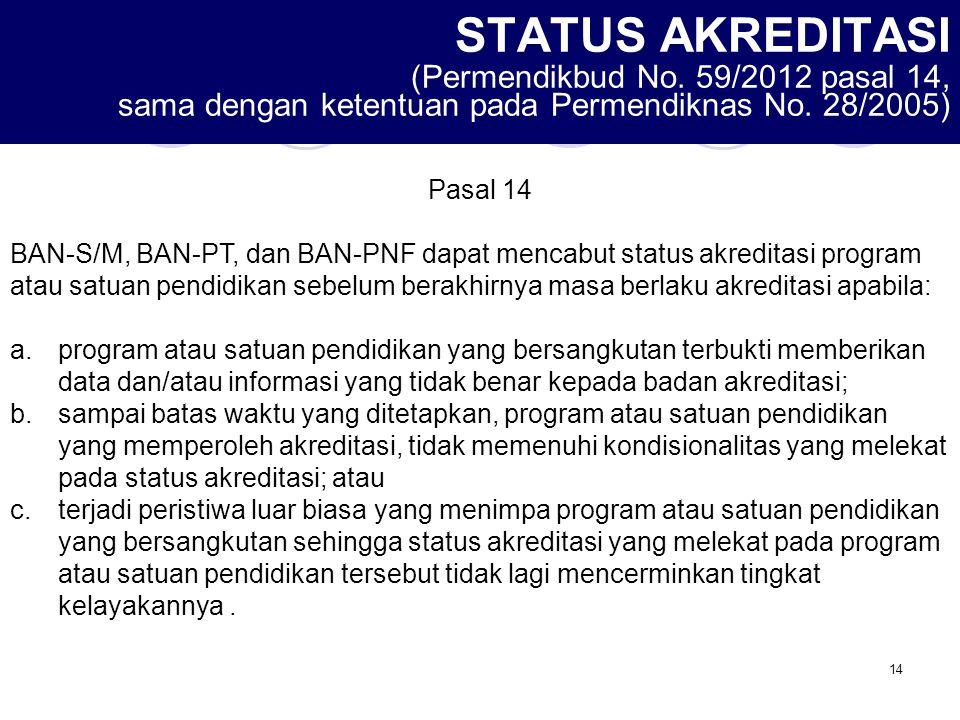 14 STATUS AKREDITASI (Permendikbud No. 59/2012 pasal 14, sama dengan ketentuan pada Permendiknas No. 28/2005) Pasal 14 BAN-S/M, BAN-PT, dan BAN-PNF da