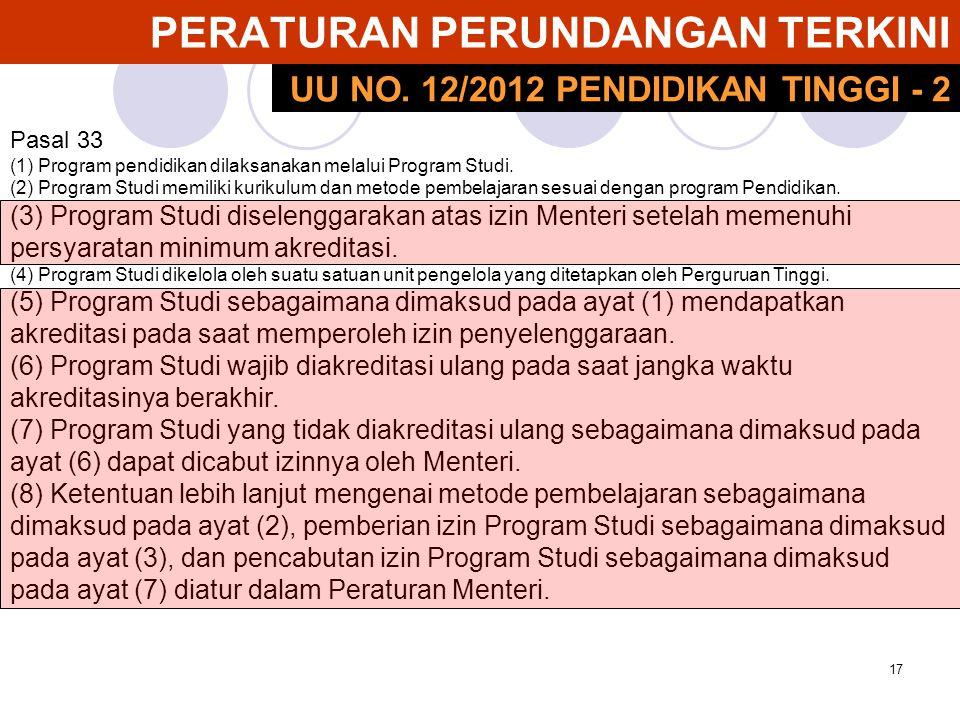 17 PERATURAN PERUNDANGAN TERKINI Pasal 33 (1) Program pendidikan dilaksanakan melalui Program Studi. (2) Program Studi memiliki kurikulum dan metode p