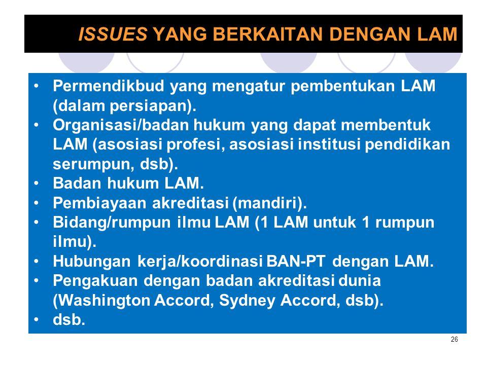 ISSUES YANG BERKAITAN DENGAN LAM 26 Permendikbud yang mengatur pembentukan LAM (dalam persiapan). Organisasi/badan hukum yang dapat membentuk LAM (aso