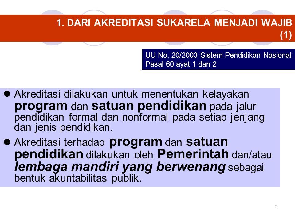 6 1. DARI AKREDITASI SUKARELA MENJADI WAJIB (1) Akreditasi dilakukan untuk menentukan kelayakan program dan satuan pendidikan pada jalur pendidikan fo
